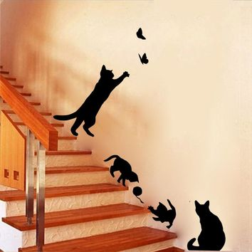 4Cute Cats Playing 3D Vinyl Walls Living Room Wall Stickers Baby Kids Room Decorations Diy Wall Decal Animals Poster Mual Decor