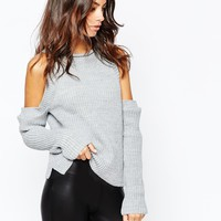 Daisy Street Halter Neck Knit Rib Top with Cold Shoulder