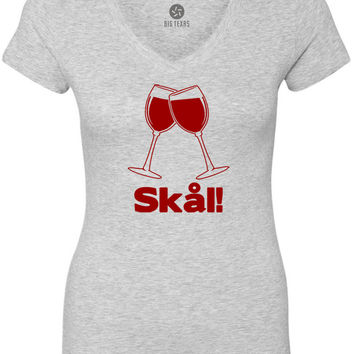 Wine Glass Swedish Cheers (Red) Women's Short-Sleeve V-Neck T-Shirt
