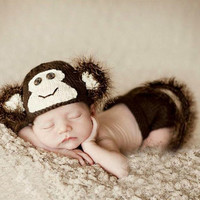 Newborn Infant Crochet Knit Hat Suit Monkey With Tail Photo Photography Props for Baby (Color: Brown)