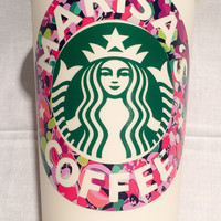 Lilly Pulitzer Personalized Name Re-useable Starbucks Coffee Tumbler