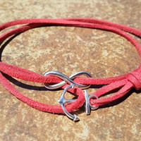 Red Leather Silver Anchor Infinity Bracelet Anklet Charm Men Women Unisex Fashion New Love Cute Diy Friendship