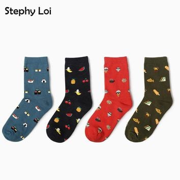Women ladies Cute Donut Sushi Cotton Crew Socks Kawaii Cartoon ice CreamHarajuku Funny casual Cheap Novelty Art Ankle Sox