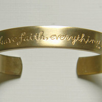 Raw Brass Faith Friendship Etched Sentiments Cuff Bracelet - 1 pc.
