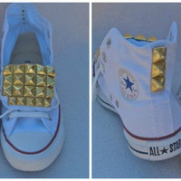White and Gold Front Studded Converse