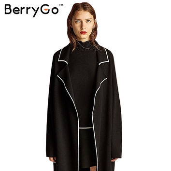 BerryGo Elegant black knitted long cardigan Women autumn winter 2016 turndown collar sweater Casual line loose coat outerwear