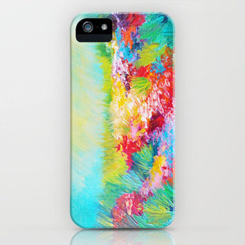 ETHERIAL DAYS - Stunning Floral Landscape Nature Wildflower Field Colorful Bright Floral Painting iPhone Case by EbiEmporium | Society6