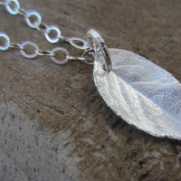 Silver Leaf Necklace, Rose Leaf, Botanical Jewelry