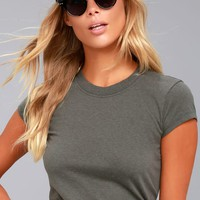 RVCA Label Charcoal Grey Baby Tee