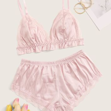 Lace Trim Satin Lingerie Set