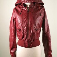 Classic Faux Leather Bomber Jacket with Removable Hood
