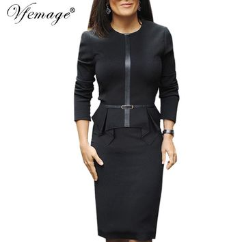 Vfemage Womens Autumn Elegant Vintage Peplum Belt Slim Wear To Work Office Business Casual Sheath Fitted Pencil Dress 4263