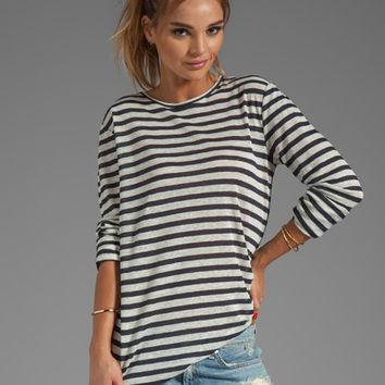 T by Alexander Wang Linen Stripe Long Sleeve Tee in Ink/Ivory from REVOLVEclothing.com