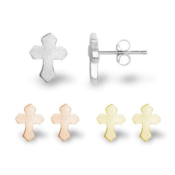 Gothic Cross Crucifix Sterling Silver Matte Finish Stud Earrings