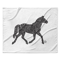 "Adriana De Leon ""Horsie"" Horse Illustration Fleece Throw Blanket"