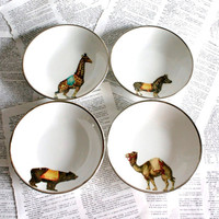 Circus aimals Ironstone bowls by geekdetails on Etsy