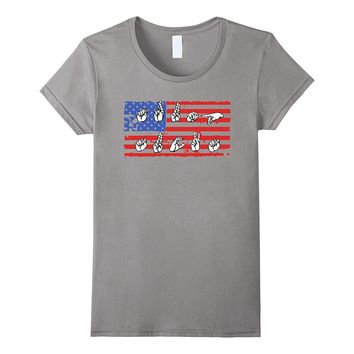 "ASL TRUMP SUCKS T-shirt (Sign Language Spells ""Trump Sucks"")"