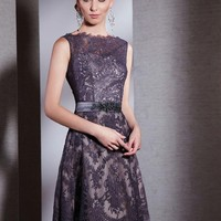 neck embellished applique chiffon belt prom dress - uk-prom-dress.co.uk