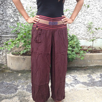 Trousers Yoga Genie Harem Pants Ethnic Tribal Hippie Baggy Boho Hobo Fashion Styles Clothing Gypsy Cloth For Exercise Beach Plain Red Maroon