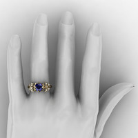 Nature Inspired 14K Yellow Gold 1.0 Ct Blue Sapphire Diamond Leaf and Vine Butterfly Wedding Ring Engagement Ring R1034-14KYGDBS