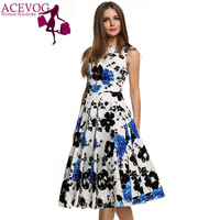 ACEVOG Brand Women Summer Dress Sleeveless Tunic Casual Vintage 1950s 60s Party Rockabilly Big Swing Long Floral Dresses