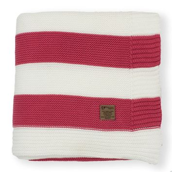 Raspberry & Cream Stripe Knit Organic Cotton Blanket