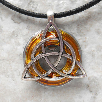triquetra necklace: yellow - mens jewelry - celtic jewelry - mens necklace - irish jewelry - boyfriend gift - unique gift - fathers day