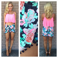 Navy Poppy Floral Print Shorts