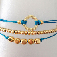 Triple Gold and Dark Cyan - Greenish Blue - Friendship Bracelet with Adjustable Cord