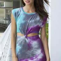 Ibiza Twisted Front Tie-Dye Dress