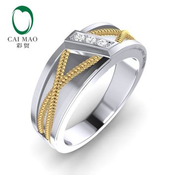 CaiMao 14K Two-Tone Gold 0.08ct Natural Diamond Twisted Rope Mens Wedding Band Mens Ring