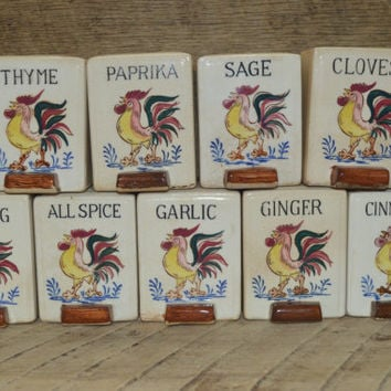 Vintage Ceramic Spice Jars with Roosters Set of Nine Made in Japan