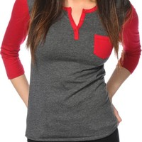 Zine Charcoal & Red Henley Shirt