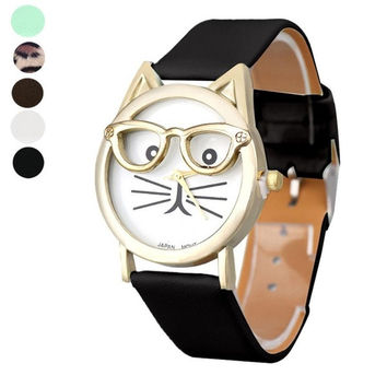 Cat Watch with Glasses Fashion Women Analog Quartz Dial Wrist Watch = 1714488772