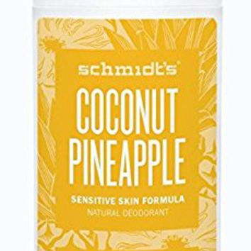 Schmidt's Natural Deodorant - Coconut Pineapple 3.25 Oz Sensitive Skin Stick; Aluminum-Free Odor Protection & Wetness Relief