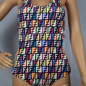 Fendi Fashion Pattern Print Strapless Strappy One Piece Swimwear Bikini Swimsuit