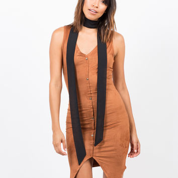 Button Front Suede Dress
