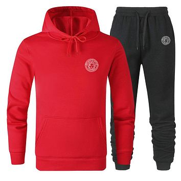 VERSACE Autumn Winter Women Men Casual Hoodie Top Sweater Pants Trousers Set Two-Piece Red