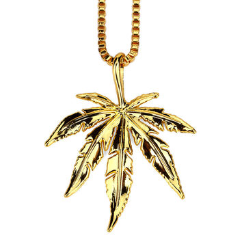Gift Stylish Shiny New Arrival Jewelry Accessory Hip-hop Leaf Necklace [10529028163]