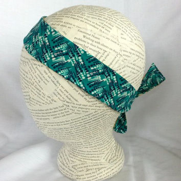 Reversible Fabric Head Wrap - Size Baby to Adult - Knot Headband - Tie Headband - 1 1/2 inch headband - Aqua - Earth Tones