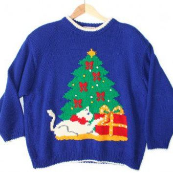 Vintage 80s Kitty & Christmas Tree Tacky Ugly Christmas Sweater for Cat Ladies Women's Plus Size 3X $35 - The Ugly Sweater Shop