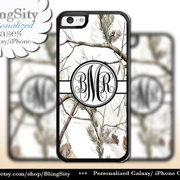 Snow Camo Black Monogram iPhone 5C 6 Plus Case iPhone 5s 4 Cover Ipod White Realtree Personalized Country Inspired Girl