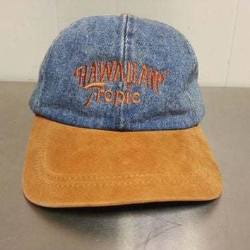 80s 90s Denim Hawaiian Tropic Strap Back Hat Spring Break Sunscreen Promotional Hat True Vintage Dad Hat