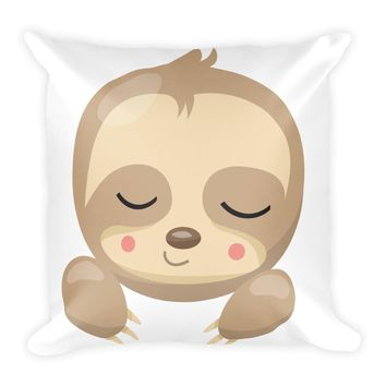 Sleepy Sloth from our Noah's Ark Collection Double Sided Square Pillow Awake/Asleep