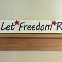 Let Freedom Ring Sign with bell on Rustic, Reclaimed Barn Wood, Red White Blue Patriotic, liberty, 4th of July, Americana, USA, pallet wood