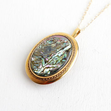Vintage 12k Gold Filled Abalone Shell Pendant Necklace - 1940s Late Art Deco Brooch Pin Jewelry Hallmarked WRE