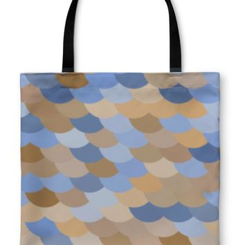 Tote Bag, Colorful Fish Or Snake Skin Scale Pattern In Blue And Brown