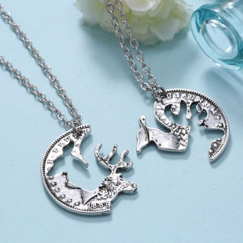 Fashion Interlocking Couples Pendant Coin Puzzle Necklace Retro Deer Necklace P1199