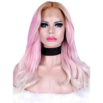 Long Adore Dreamy Pink Ombre Wave Synthetic Lace Front Wig