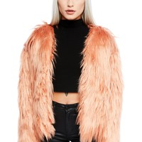 Pink Flamingo Faux Fur Open Shaggy Jacket